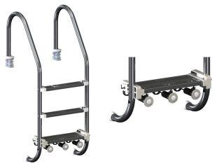 Escada Light 03 Degraus Aço Inox 1 1/2` - Sodramar