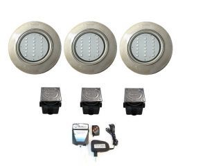 Kit Iluminação 3 Steel Led SMD 18 com Comando e Caixa de Passagem (48 M²)  - Pooltec