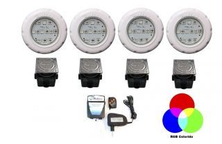 Kit Iluminação 4 Tecno Led SMD 12 com Comando e Caixa de Passagem (40 M²)  - Pooltec