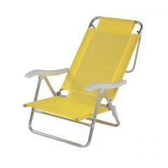 Cadeira Praia Reclinável 6 Posições Summer Amarela (2106)  - Mor